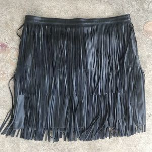 Faux Leather Black Fringe Ana Skirt